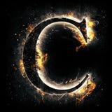 Letra C do fogo ilustração royalty free