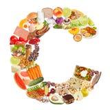 Letra C feita do alimento imagens de stock royalty free