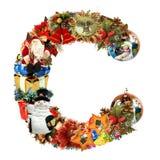 Letra C, para la decoración de la Navidad stock de ilustración