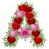 Letra A - Carta de la tarjeta del día de San Valentín stock de ilustración
