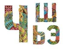 Letra cirílica rusa Objeto decorativo del zentangle del vector Imágenes de archivo libres de regalías