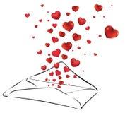 Letra com corações ilustração do vetor