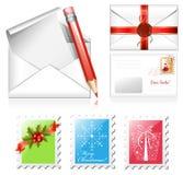 Letra com selos de porte postal do Natal. Foto de Stock