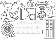 Letra D Aprendiendo alfabeto inglés y la escritura de práctica stock de ilustración
