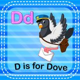 A letra D de Flashcard é para a pomba ilustração stock