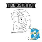 Letra D del alfabeto de los monstruos de la página que colorea Foto de archivo