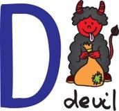 Letra D - diabo ilustração do vetor