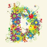 Letra D, diseño floral