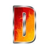 Letra D do alfabeto das flamas Fotos de Stock Royalty Free