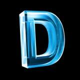 Letra D en el vidrio azul 3D Foto de archivo libre de regalías