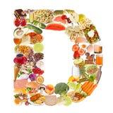 Letra D feita do alimento imagem de stock