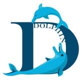 Letra D (golfinho) Ilustração do Vetor