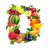 Letra D integrada por diversas frutas con las hojas ilustración del vector