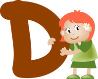 Letra D (muchacha) del alfabeto Imagenes de archivo
