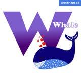 Letra da baleia de W ilustração royalty free