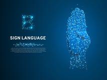 Letra da linguagem gestual B, mão que usa a modalidade visual-manual transportar o significado Ponto baixo poligonal do espaço po ilustração do vetor