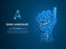 Letra da linguagem gestual A, mão que usa a modalidade visual-manual transportar o significado Baixo poli poligonal Vetor ilustração stock