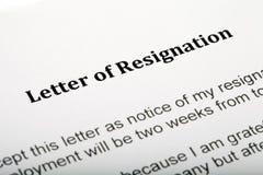 Letra da renúncia Imagens de Stock