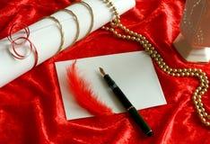 letra de amor e ornamento vermelho Imagem de Stock