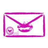Letra de amor estilizada sellada con un beso cariñoso stock de ilustración