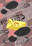 Letra de amor pisoteada fotografía de archivo libre de regalías