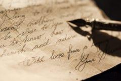 Letra de amor velha foto de stock