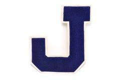 Letra de equipo universitario J Foto de archivo