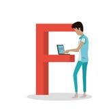 Letra de F y película del reloj del muchacho en el ordenador portátil ABC vector Imágenes de archivo libres de regalías