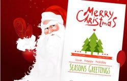 Letra de la Navidad a Papá Noel con el sombrero y la postal de la Navidad Imagen de archivo libre de regalías