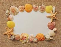 Letra de la playa del verano con las cáscaras Fotos de archivo libres de regalías