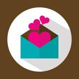 Letra de la tarjeta del día de San Valentín, icono plano con la sombra larga, vector Fotografía de archivo libre de regalías
