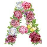 Letra A de las flores de la acuarela ilustración del vector