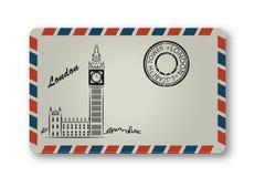 A letra de Londres com a torre Elizabeth pintou stylization ilustração do vetor