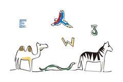 Letra de los números y ejemplo de los animales imagen de archivo