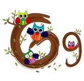 Letra de madeira G Owl Vetora Imagens de Stock