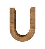 Letra de madeira realística U isolada no fundo branco Foto de Stock Royalty Free