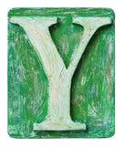 Letra de madera Y del alfabeto imagen de archivo