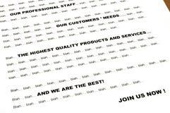 ?? Letra de mercado blá blá - close up Imagens de Stock