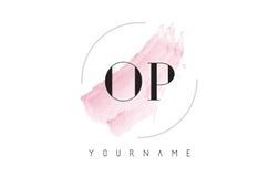 Letra DE OP. SYS. Logo Design de la acuarela de O P con el modelo circular del cepillo Imagen de archivo