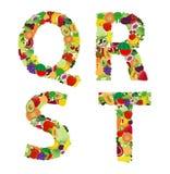 Letra del alfabeto de la fruta y verdura del ejemplo del vector Fotografía de archivo