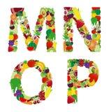 Letra del alfabeto de la fruta y verdura del ejemplo del vector Imagen de archivo libre de regalías