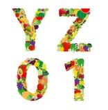 Letra del alfabeto de la fruta y verdura del ejemplo del vector Fotos de archivo
