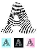 Letra A del alfabeto de la huella digital ilustración del vector