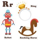 Letra del alfabeto R Anillo, robot, caballo mecedora Fotos de archivo libres de regalías