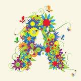 Letra A, diseño floral
