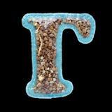 Letra do alfabeto cirílico feito do feltro isolado no preto Fotos de Stock