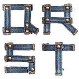 Letra do alfabeto das calças de brim ilustração stock