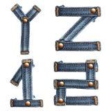 Letra do alfabeto das calças de brim ilustração do vetor