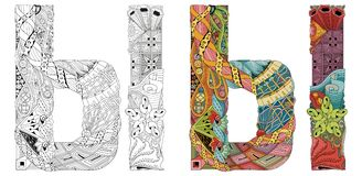 Letra do cirílico do russo Objeto decorativo do zentangle do vetor Imagem de Stock Royalty Free