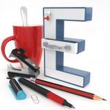 Letra do ` 3d do ` E com material do escritório Fotografia de Stock Royalty Free